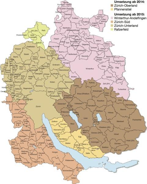 Karte der Landschaftsqualitäts-Projekte in Zürich.