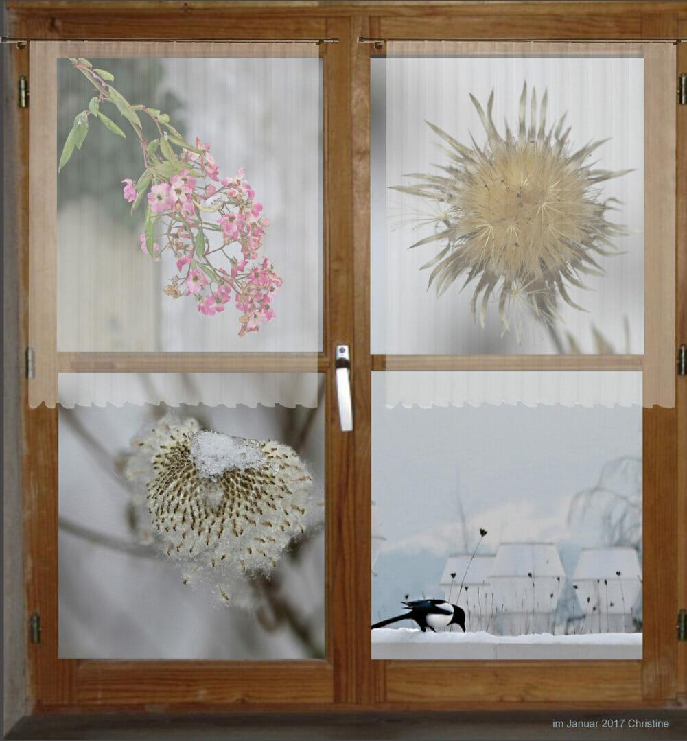 Fenster in den Garten mit Schnee.