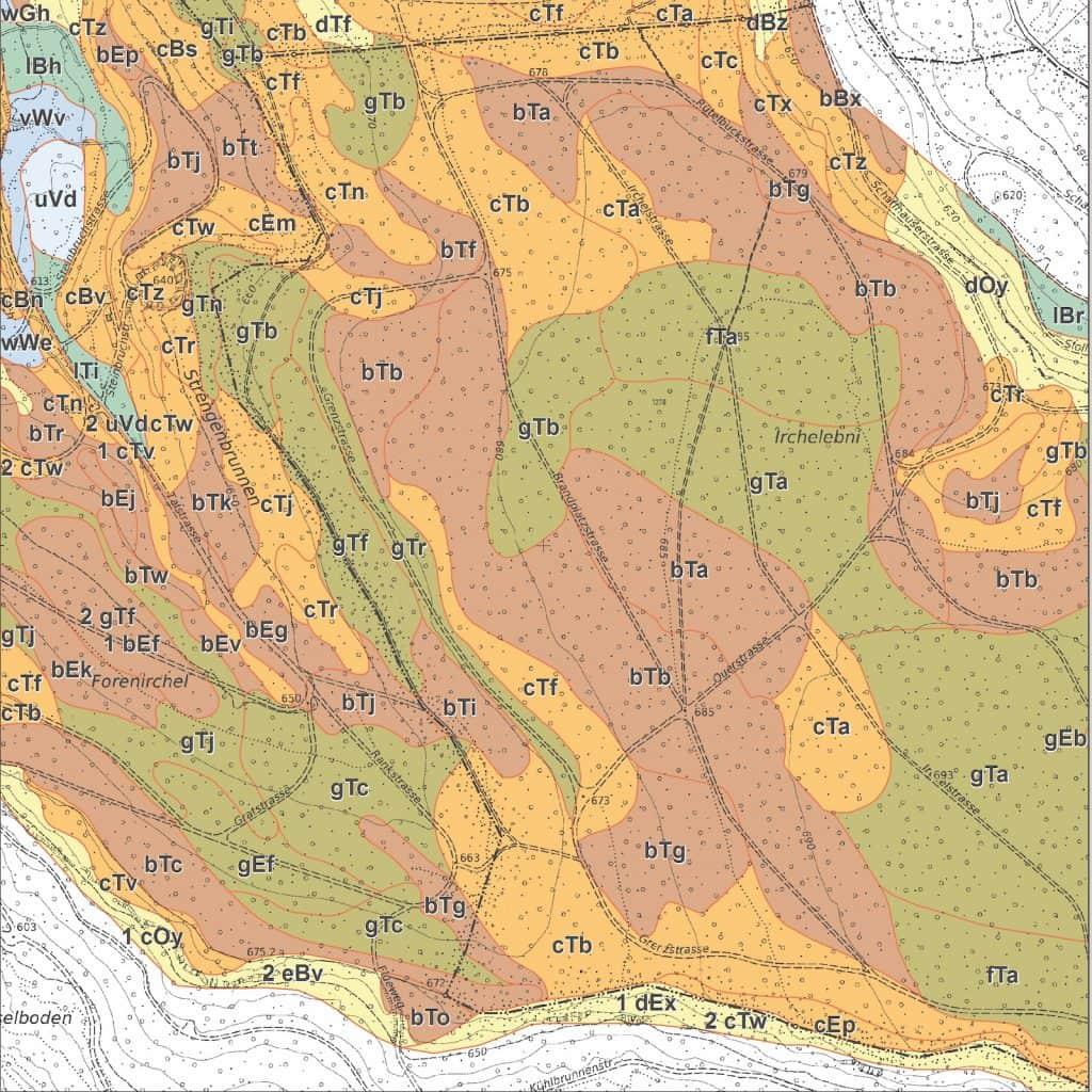Waldbodenkarte am Irchel.