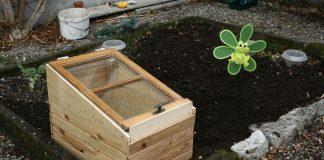 Das Frühbeet ist fertig und im Garten.