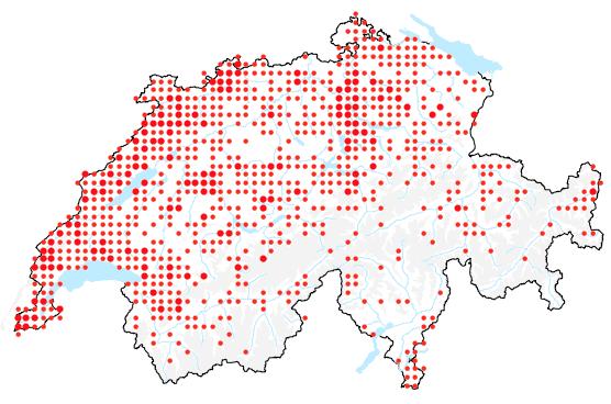Die schweizweite Verbreitung der Einbeere, Paris quadrifolia.