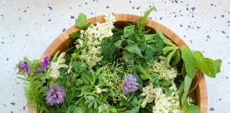 Ein gesunder Salat mit Wildkräutern.