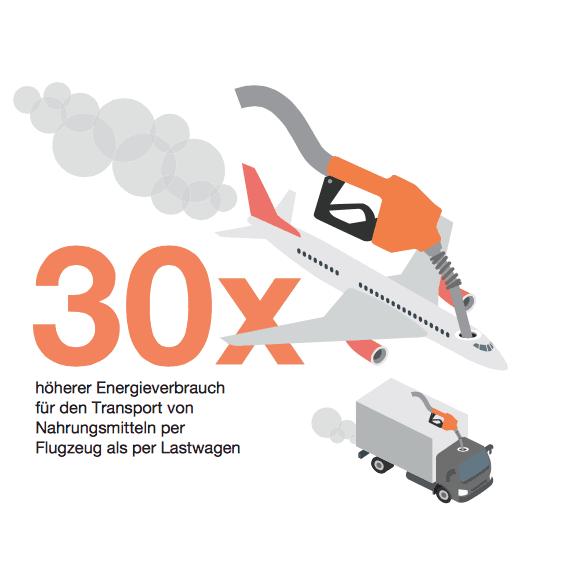 Flugzeug ist umweltschädlicher als der Transport mit dem Lastwagen.