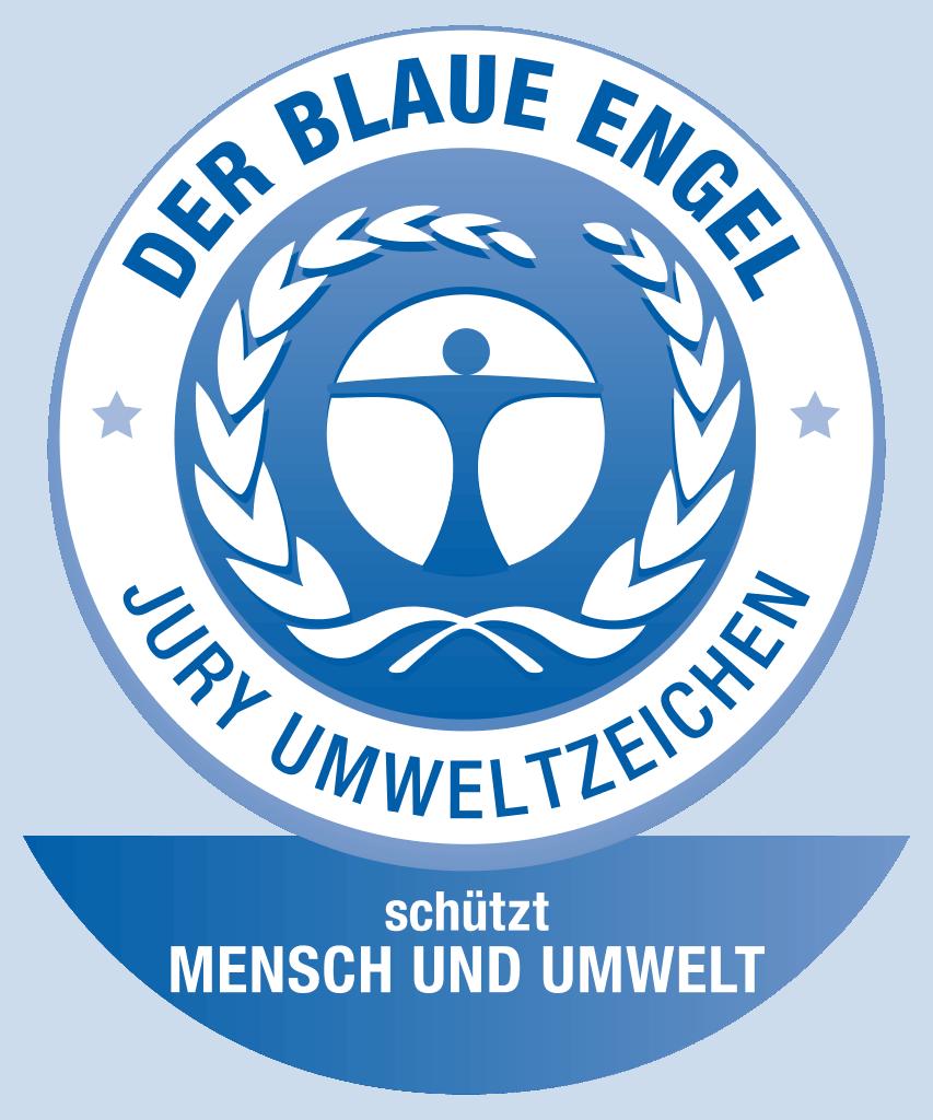 Das Label der blaue Engel garantiert super Recyclingpapier.