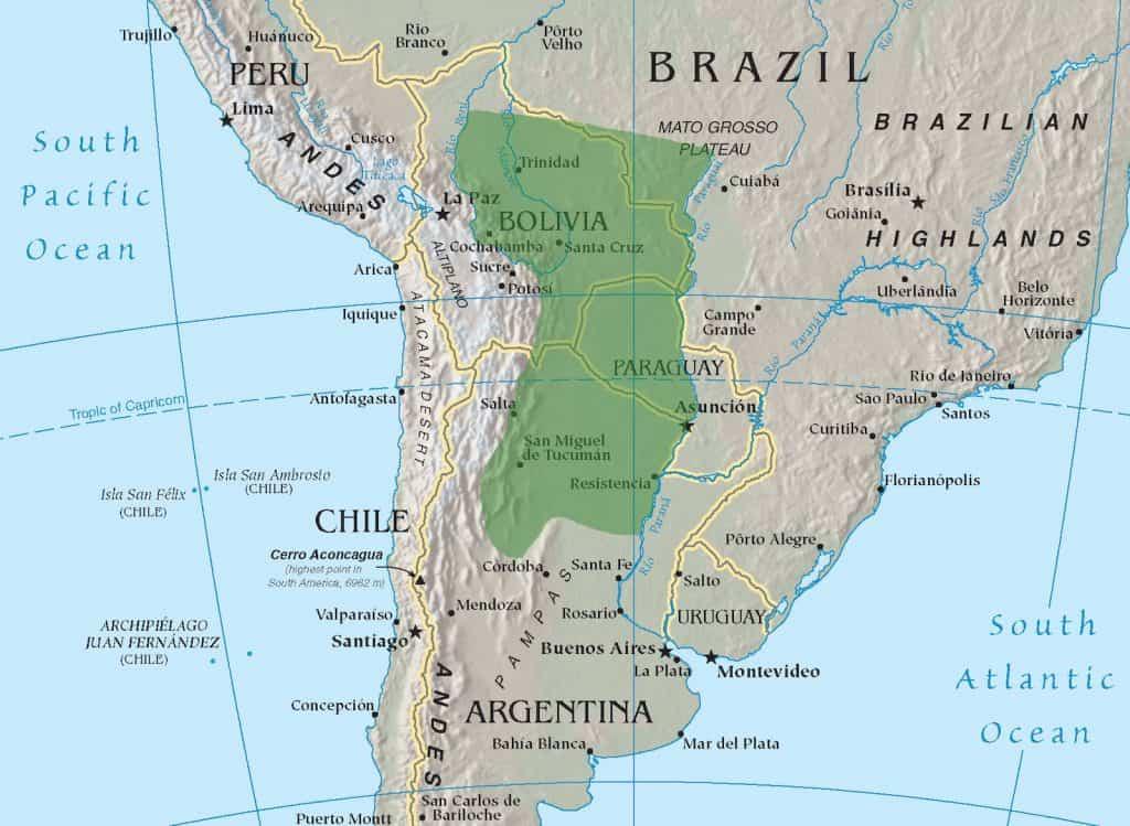 Karte des Gran Chaco Schutzgebiet.