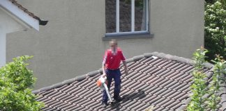 Mann steht mit Laubbläser auf seinem Hausdach.