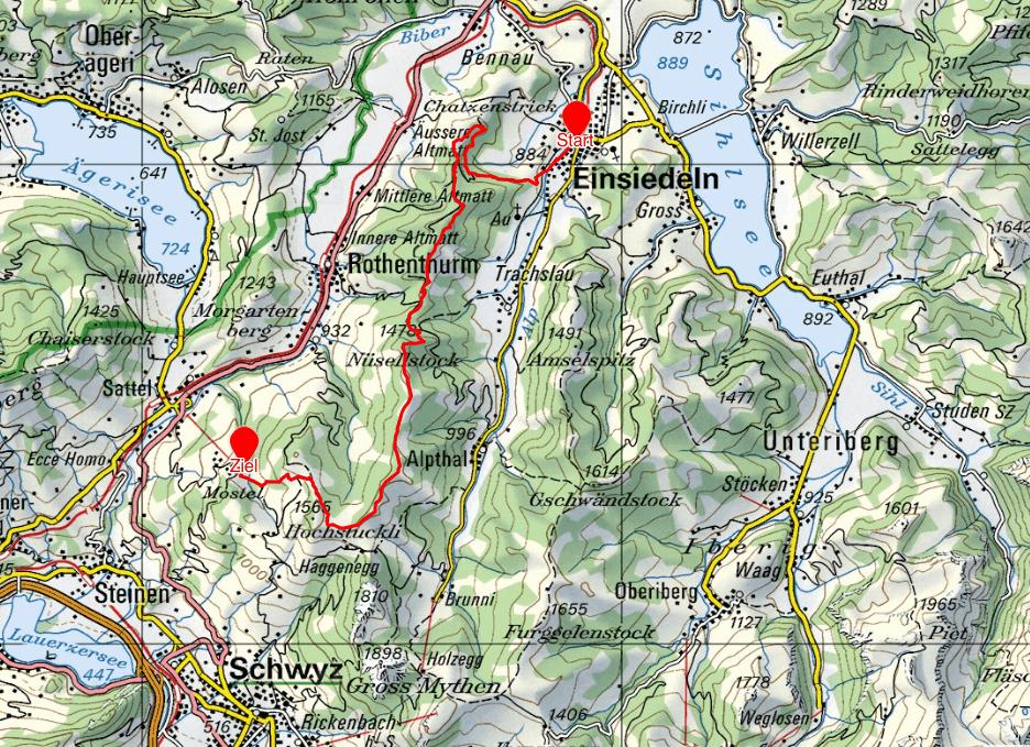 Route der Wanderung im Mostelberg.