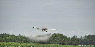 Ein Flugzeug spritzt Pestizide über ein Landwirtschaftsfeld.