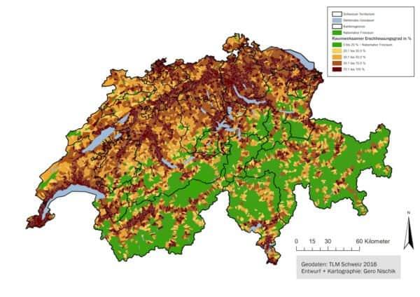 Karte der naturnahe Freiräume in der Schweiz.