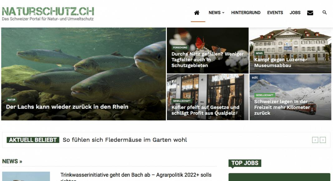 Screenshot neue Website naturschutz.ch
