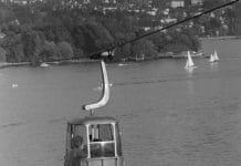 Eine Seilbahn über dem Zürichsee vom Jahre 1995.