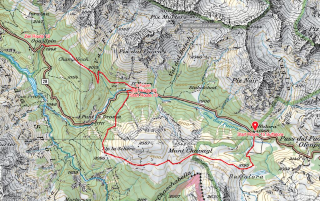 Eine Karte die die Wanderroute aufzeigt.