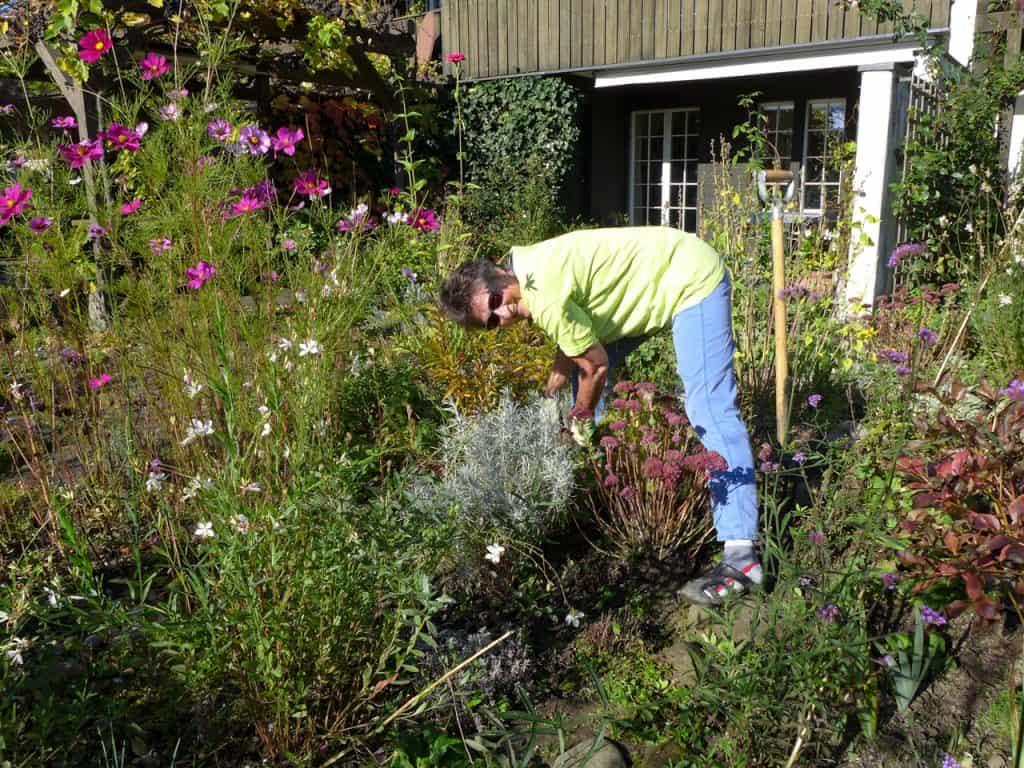 Gartenbesitzerin beim Werken im Garten