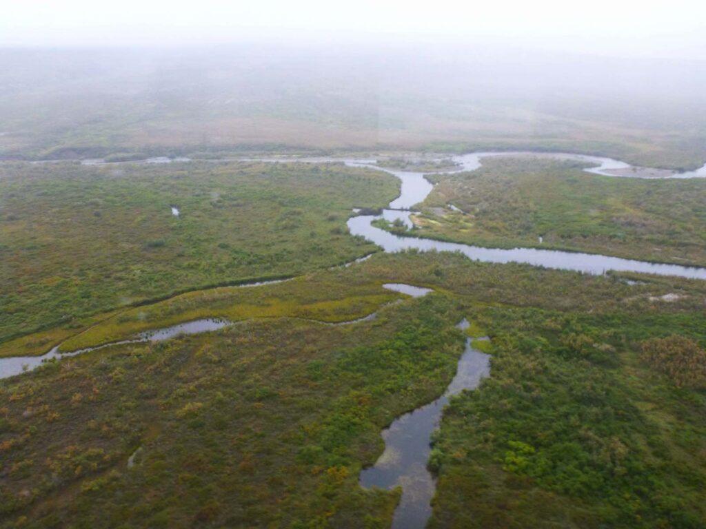 Luftbild eines Gewaessernetzes