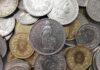 Schweizer Geldmuenzen lose geschichtet