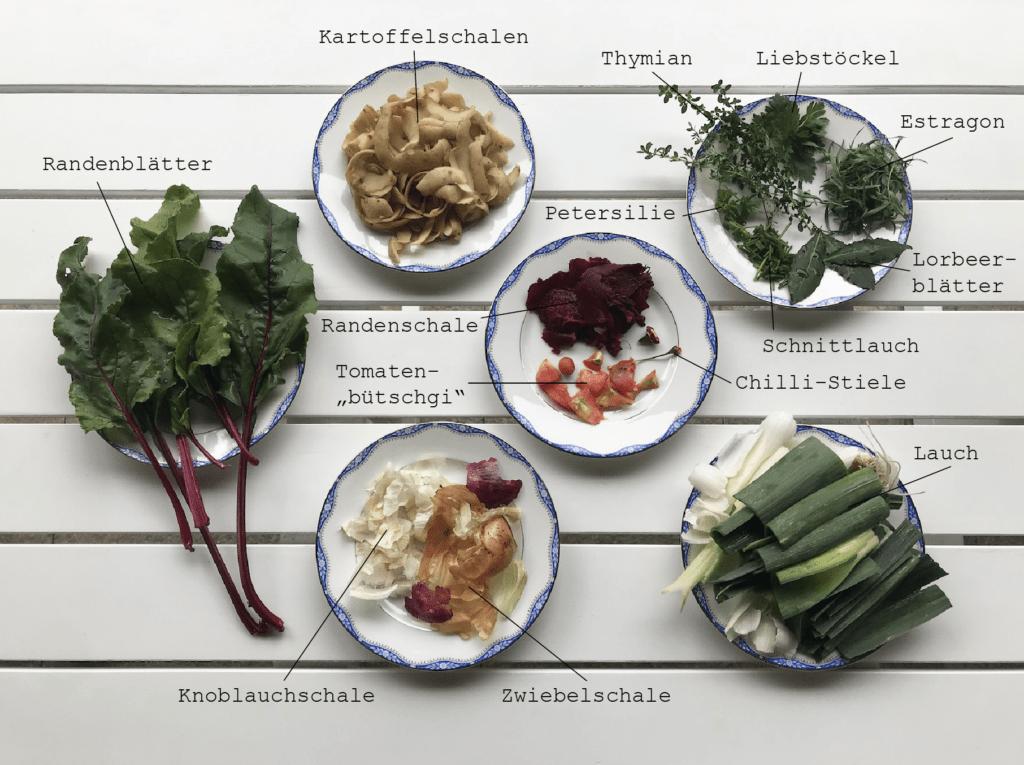 Zutaten auf Tellern
