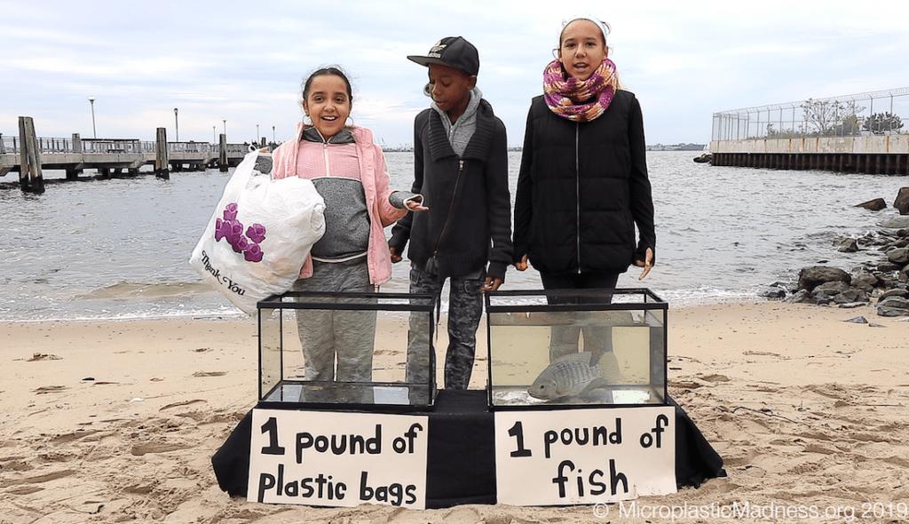 Drei Schülerinnen mit gesammeltem Plastik