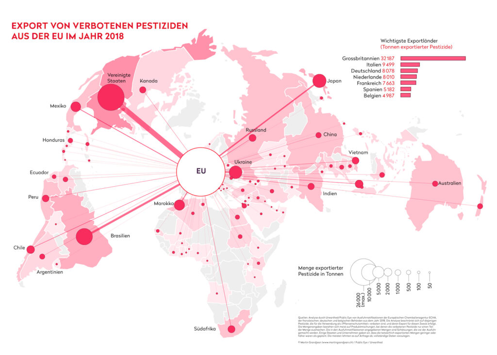 Karte mit Pestizid-Exporten der EU