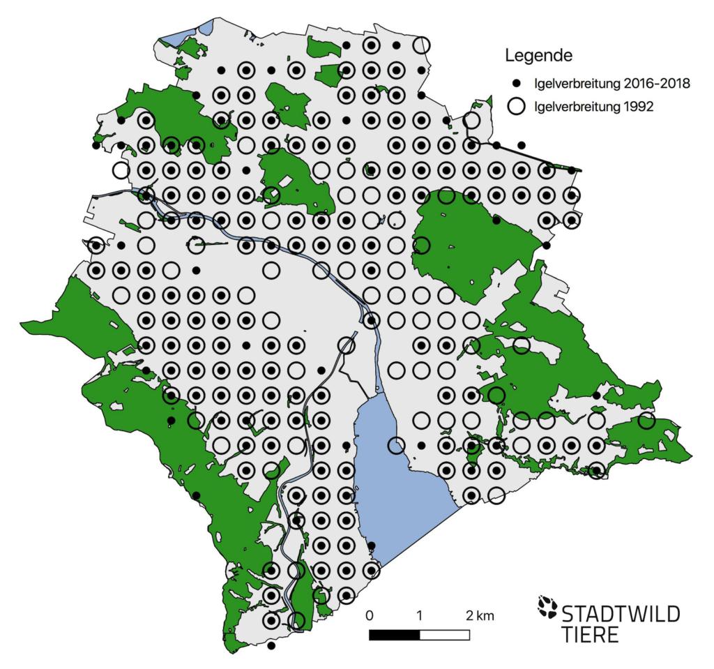 Verbreitungskarte der Igel im Jahr 1992 und von 2016-2018
