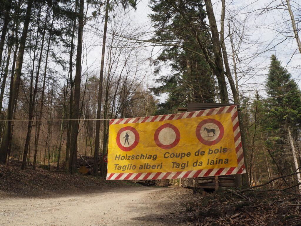 Warnung: Holzschlag