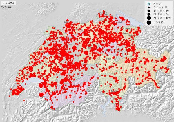 Sichtungen von Admirals in der Schweiz.