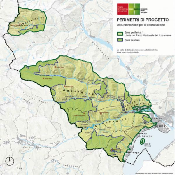 Das Valle dei Bagni befindet sich westlich der Grenze zum Onsernone-Tal. Auf dieser Karte ist das italienische Gebiet noch nicht als Parkfläche gekennzeichnet. @ parconazionale.ch