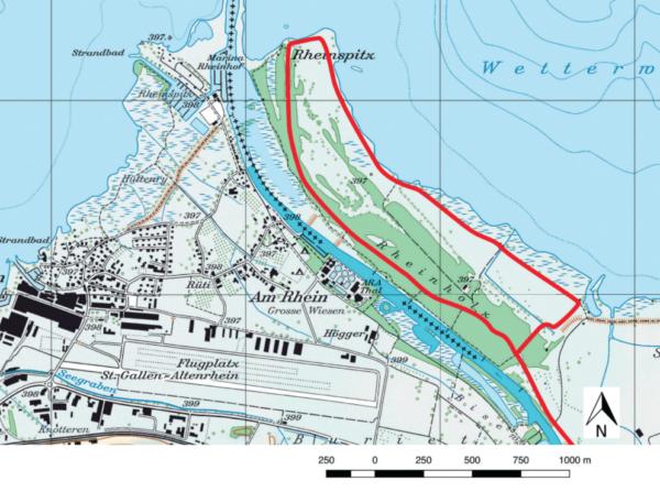 Auf der Karte sehen Sie die Route des botanischen Spaziergangs. (Reproduziert mit Einwilligung von swisstopo (BA170186))