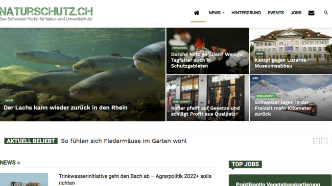 Screenshot neue Website naturschutz.ch