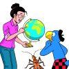 Eine Wissenschaftlerin erklärt Globi, wie sich Tiere und Pflanzen durch den Menschen auf der Erde ausbreiten. © Globi Verlag