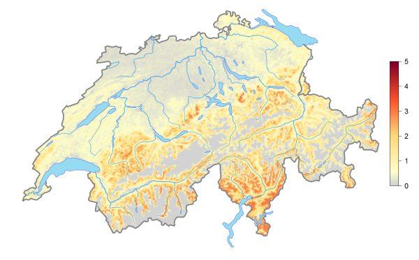 Die Verbreitungskarte aus dem Atlas 2013–2016 zeigt, dass der Kuckuck in weiten Teilen des Mittellands und des Juras verschwunden ist. In den Alpen und im Tessin ist er aber noch gut vertreten. Foto © Schweizerische Vogelwarte