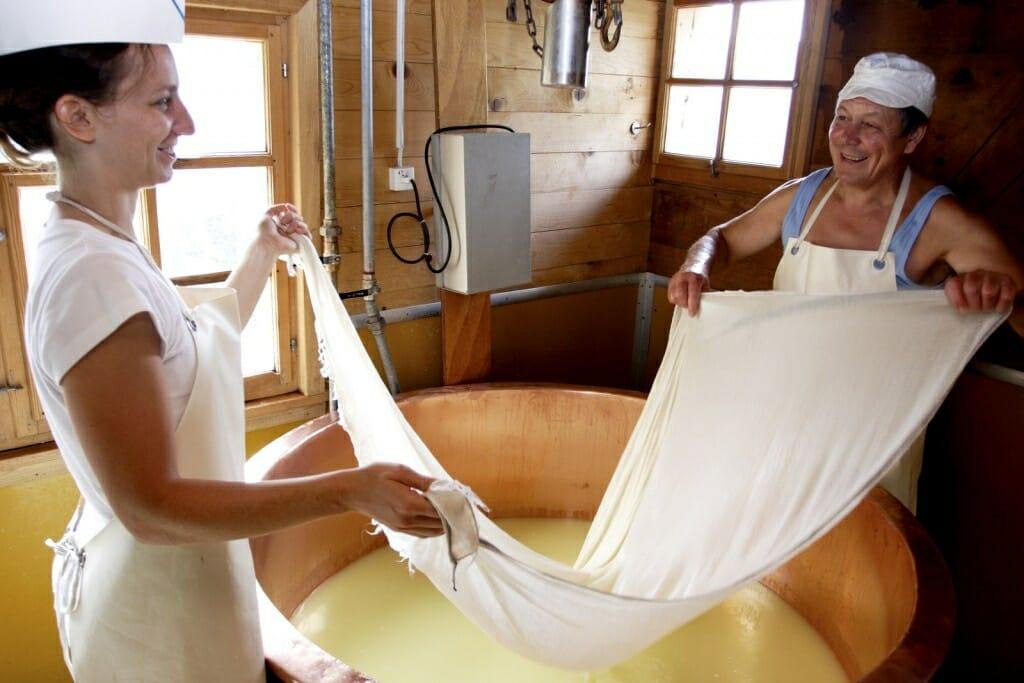 Herstellung eines Bloderchäses.