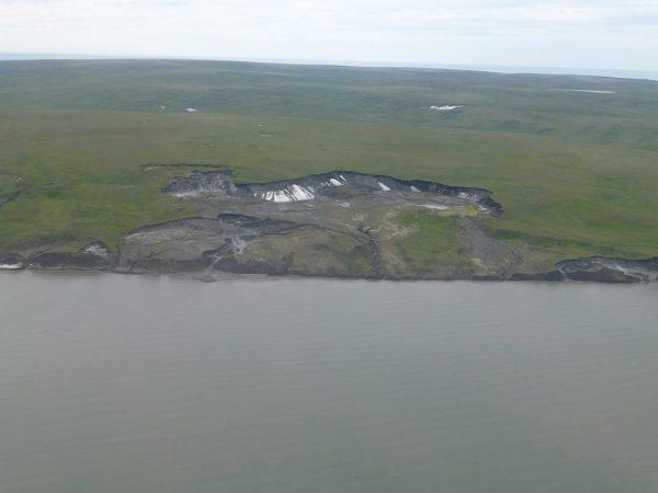Luftaufnahme erodierenden Permafrosts auf Herschel Island. © Stefanie Weege, via AWI